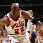A photo of Michael Jordan playing basketball