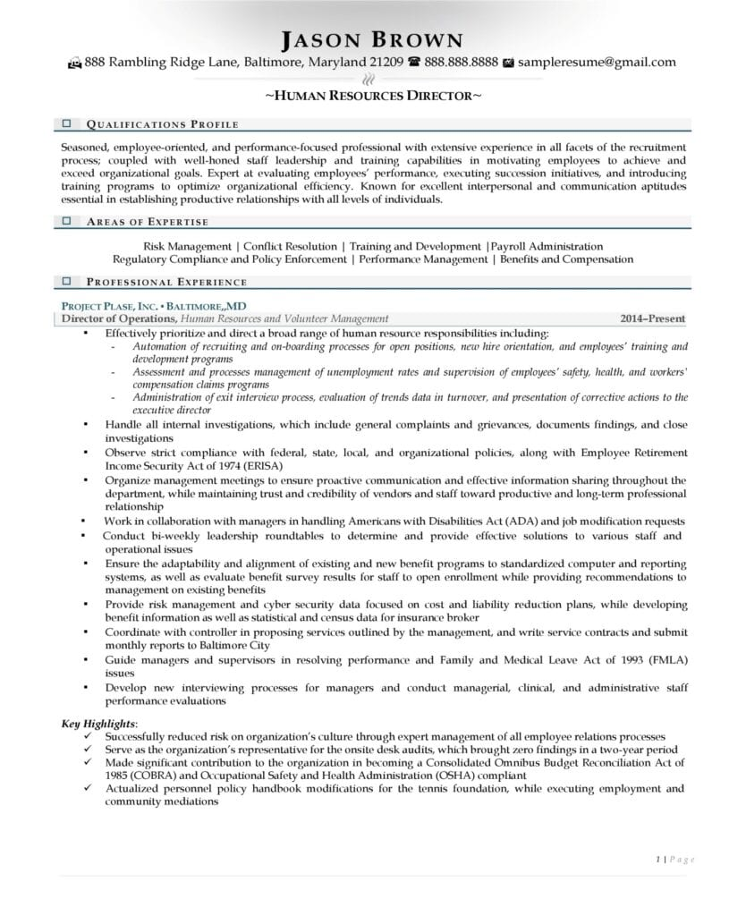 Human Resource Director Resume Examples Page 01