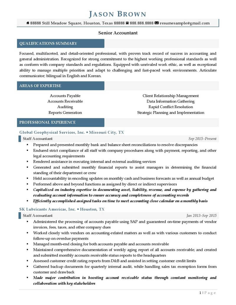 Senior Accountant Resume Examples Page 1