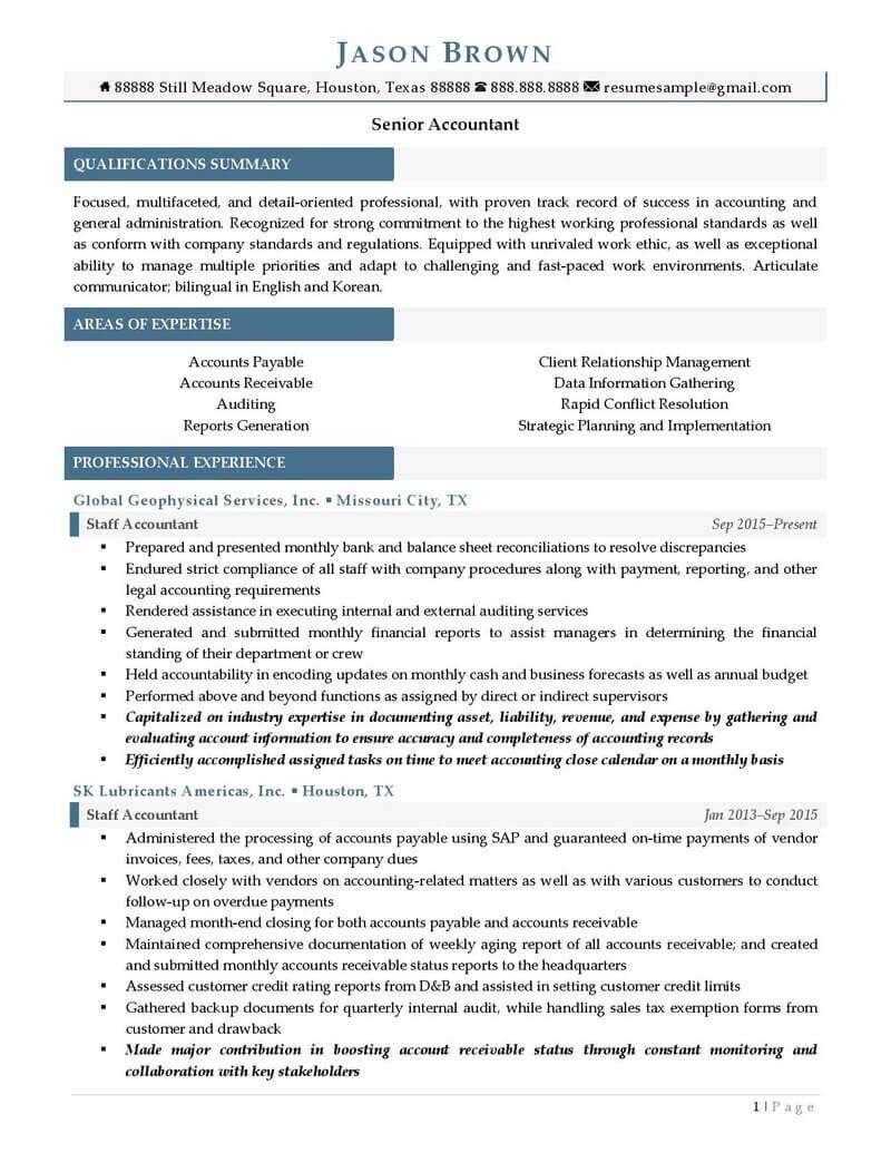 senior accountant resume sample  senior accountant resume